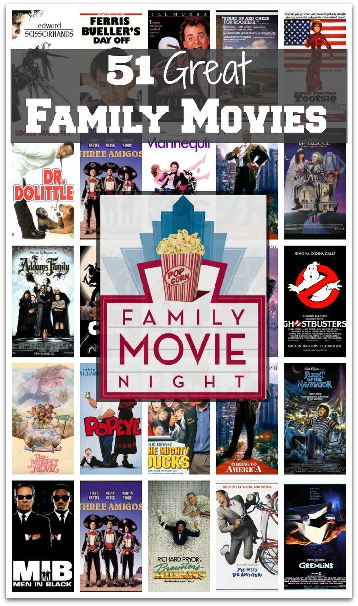 Looking for movies to watch with the family..... Look no further here are 51 great family movies - everything for the little one's to the teenagers!!! Great way to spend family time.