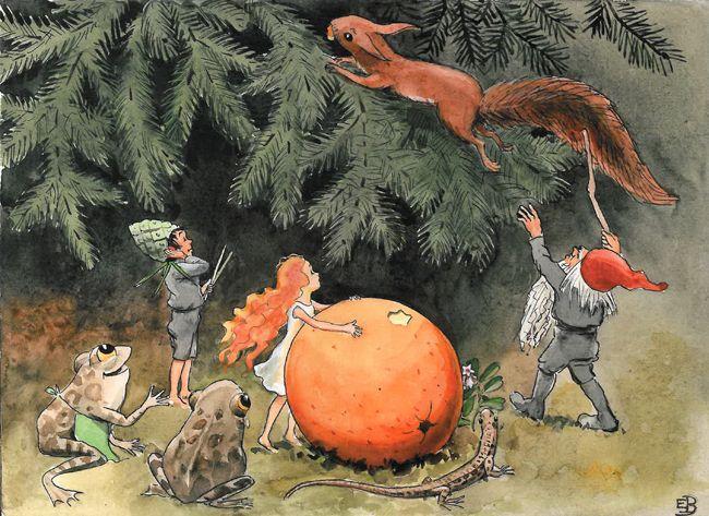 Illustration from Swedish children's book, Elsa Beskow, The Sun Egg