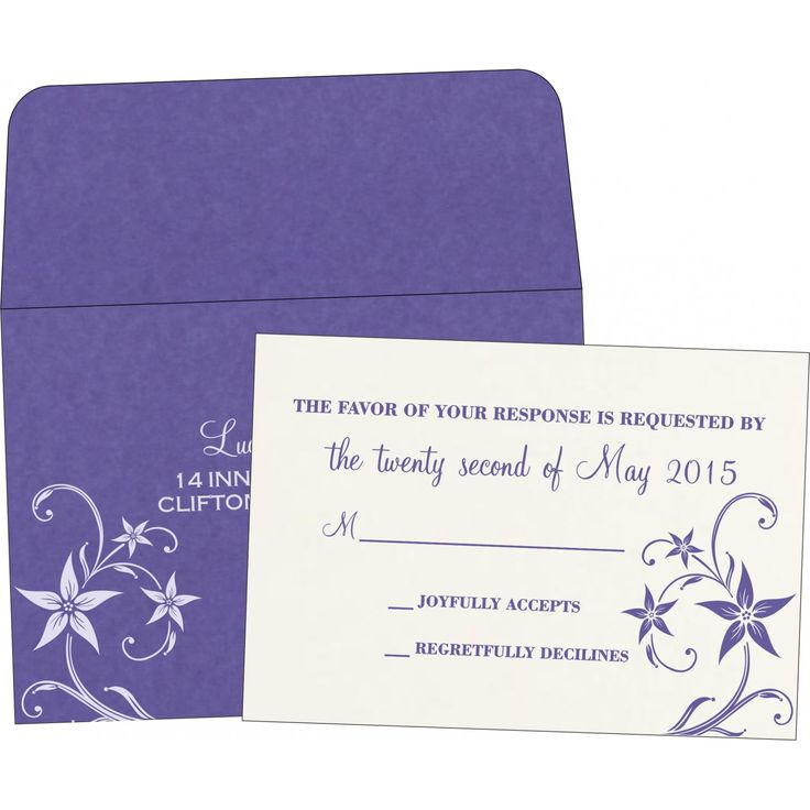 Purple Matte Floral Themed   Screen Printed Wedding Invitations : S 8225h