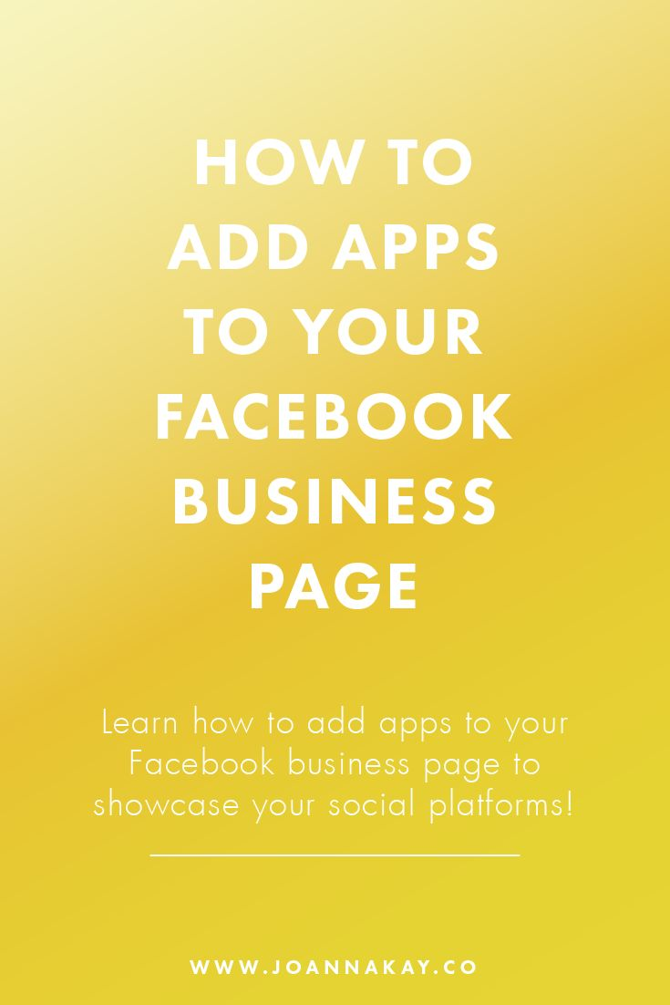 How to Add Apps to Your Facebook Business Page!