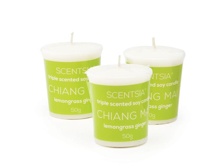 CHIANG MAI (Lemongrass Ginger) - Triple scented soy votive candles by Scentsia // Recreate the serenity of a Thai spa with this zesty blend of lemongrass and ginger, enlivened with clove, moss and pine.