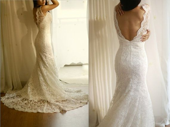 Vintage Inspired Lace Wedding Dress Mermaid Sweep by misdress, $249.00