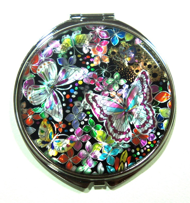 Butterflies Compact Make Up Mirror Portable Punk Emo