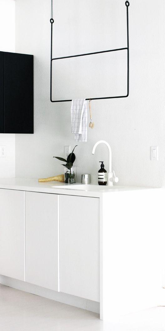 Via A Merry Mishap | White Kitchen | Minimal Rack by Annaleena