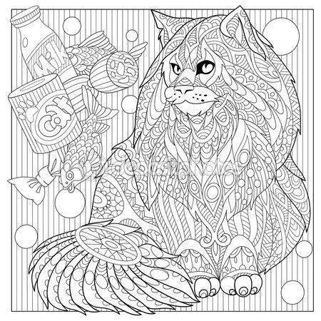 Zentangle gestileerde cartoon maine coon met voedsel van de kat. Hand getrokken schets voor volwassen anti-stressprogramma Kleurplaat, T-shirt-embleem, logo of tatoeage met doodle, zentangle, floral designelementen — Stockillustratie #111002816