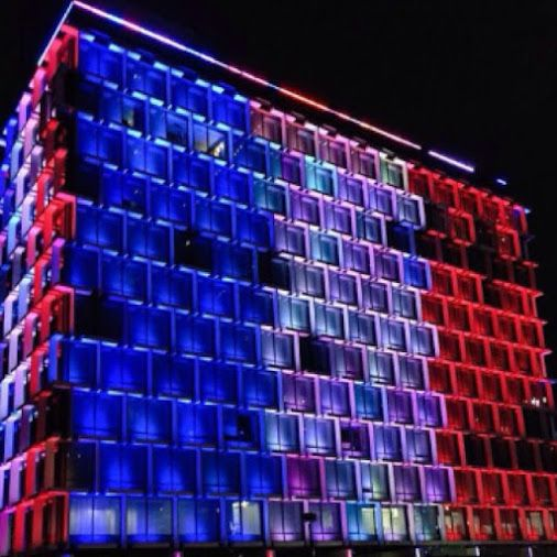 Perth City Council House is lit up red , white and blue to show solidarity with France in the wake of terror attacks .Google+