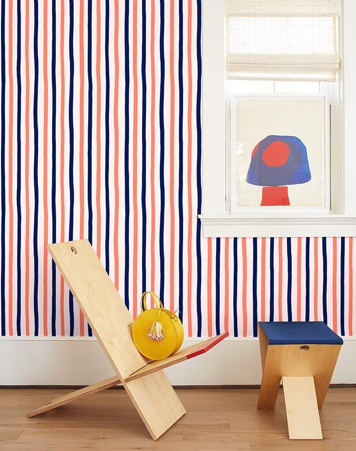 Wallshoppe X Clare V Wallpaper Stripe Removable Wallpaper Removable Wallpaper Striped Wallpaper