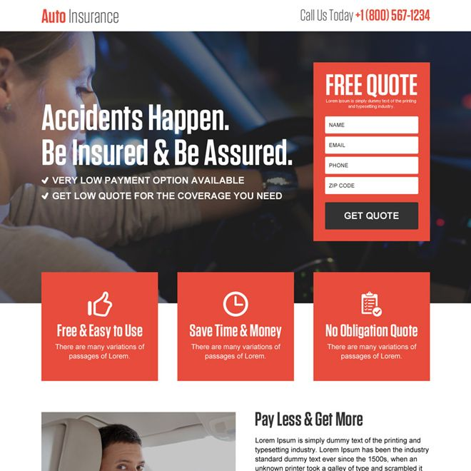 Download Auto Insurance Free Quote Lead Generation Responsive