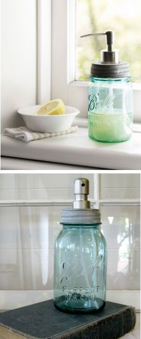 Shabby Chic Ball Mason Jar Soap Dispenser ♥ L.O.V.E.