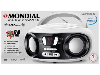 Som Portátil Mondial Rádio FM 6W Display Digital - BX-14 Up White Entrada USB MP3 Fone de Ouvido com as melhores condições você encontra no Magazine Raimundogarcia. Confira!