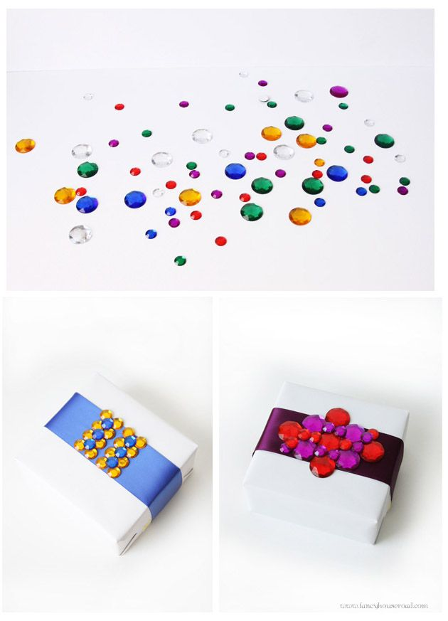 Great use of glass gems for wrapping presents. #gems #diy #crafts #glass #wrapping #packages #packaging