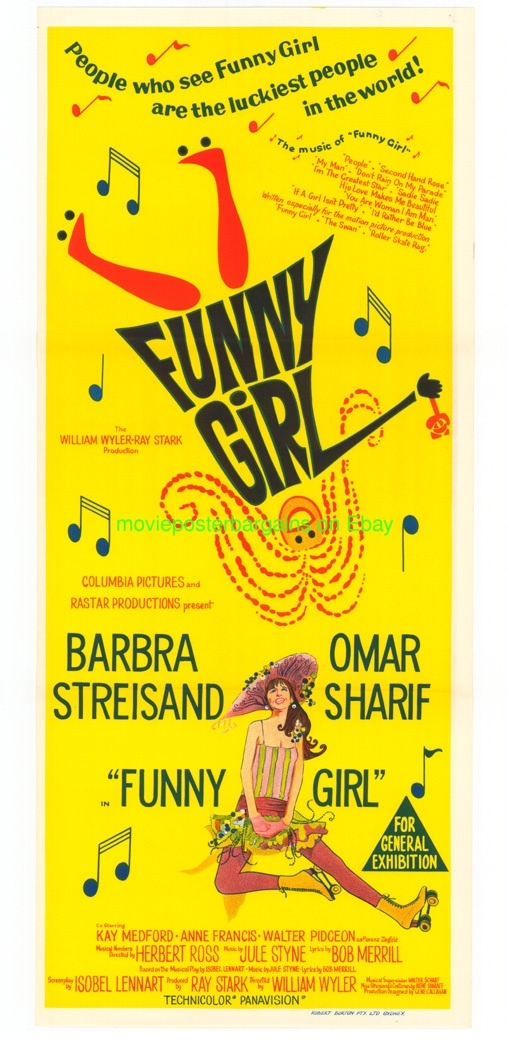 FUNNY GIRL MOVIE POSTER AUS. DB BARBRA STREISAND !!