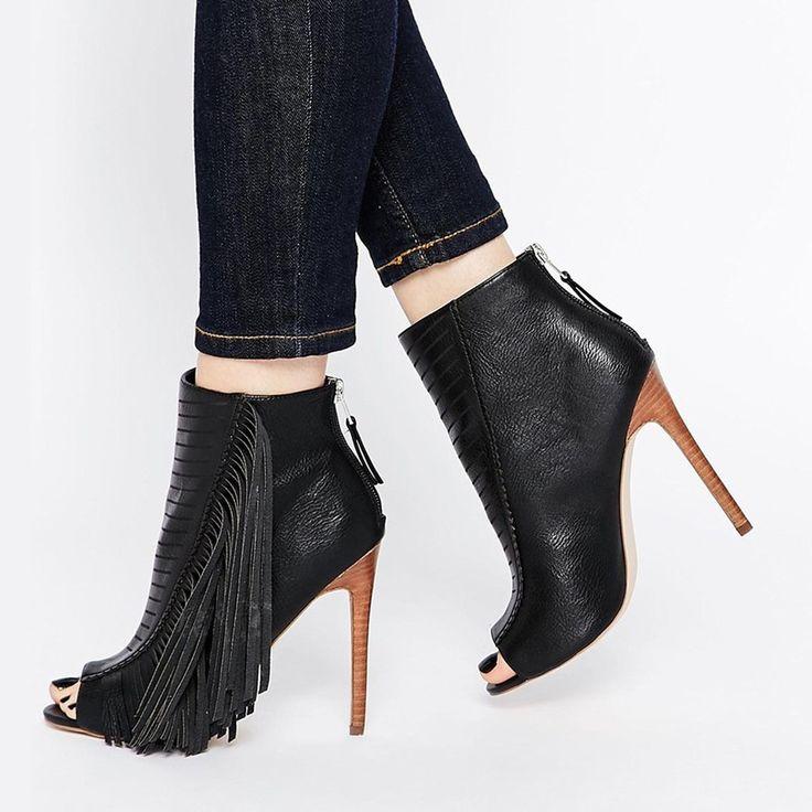 Tassels Peep toe Ankle Boots