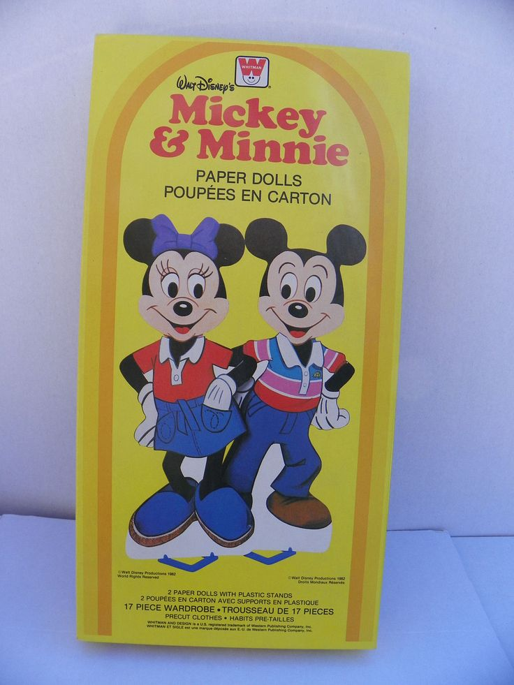 Vintage Mickey and Minnie Boxed Paper Dolls New , 1982 Walt Disney Mickey Mouse Paperdoll , Uncut Paper Dolls , Whitman Paper Doll by ShersBears on Etsy