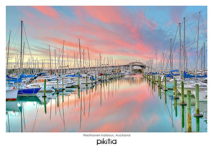 Postcard 'Westhaven harbour, Auckland' which is found in Pikitia's high quality range of postcards