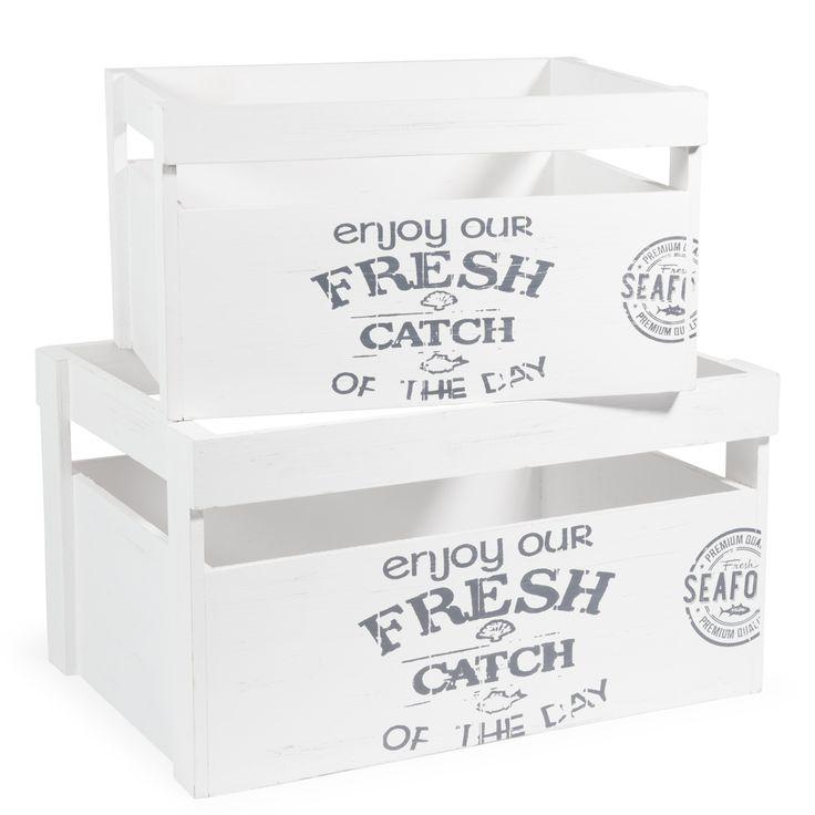 2 cagettes en bois blanches FRESH SEA - au dessus du frigo
