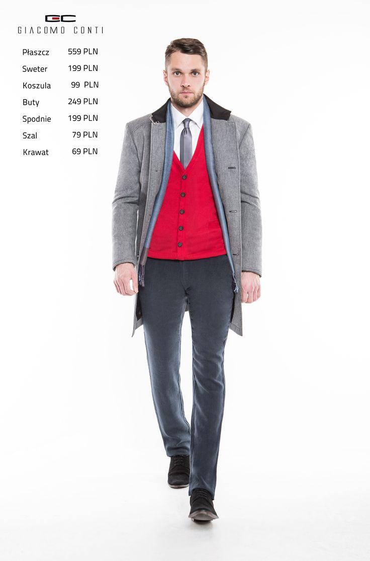 Stylizacja Giacomo Conti: płaszcz Floriano 13/44 SK, sweter Ignazio 15/23 SR, koszula Enrico 14/10/11, spodnie Abramo 15/14 T, buty 1795.