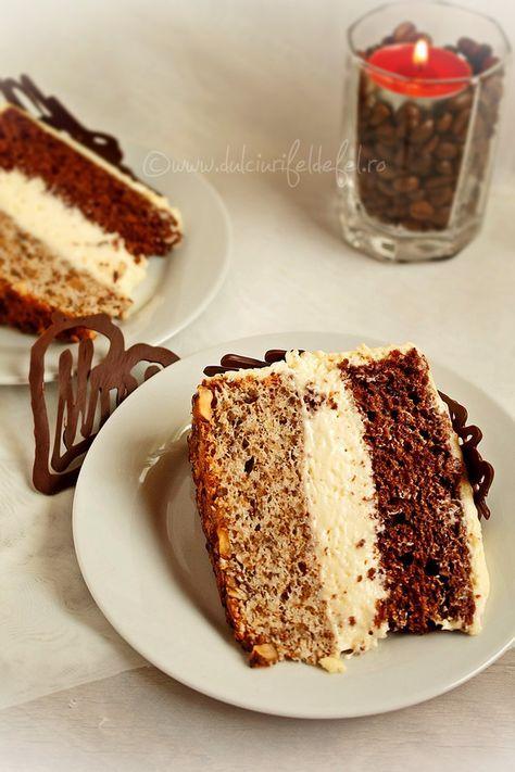 Mod de preparare Tort cu crema mascarpone si nuca: Blat cu cacao: Separam albusurile de galbenusuri. Albusurile le batem spuma tare cu un praf de sare, la viteza maxima a mixerului. Cand spuma s-a intarit bine adaugam zaharul (pudra) si mixam pana spuma se tine bine de paletele mixerului si…