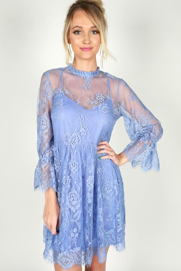 Garden Party Lace Babydoll Dress In Periwinkle Style