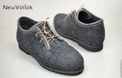 Обувь ручной работы. Женская обувь. Обувь NewVoilok. Женские валяные туфли. Серые туфли.