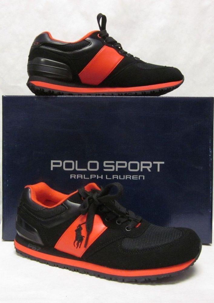b1480198cf21 Ralph Lauren Mens Polo Sport Slaton Pony Black Red Shoes Sneakers Size 11 M   RalphLauren  AthleticSneakers