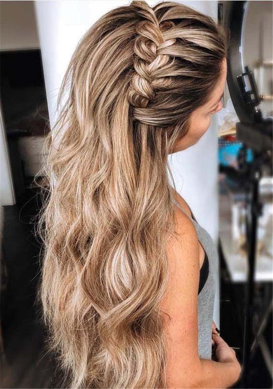 28 Captivating Half Up Half Down Wedding Hairstyles—wedding hairstyle with bra…