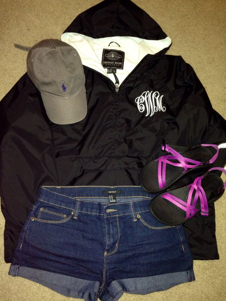 Rainy day or fishing outfit. Monogrammed rain jacket, chacos, polo hat