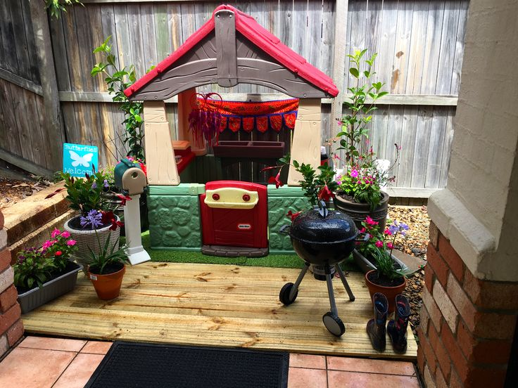 From just an old cubby house into a magical hideaway for my son.