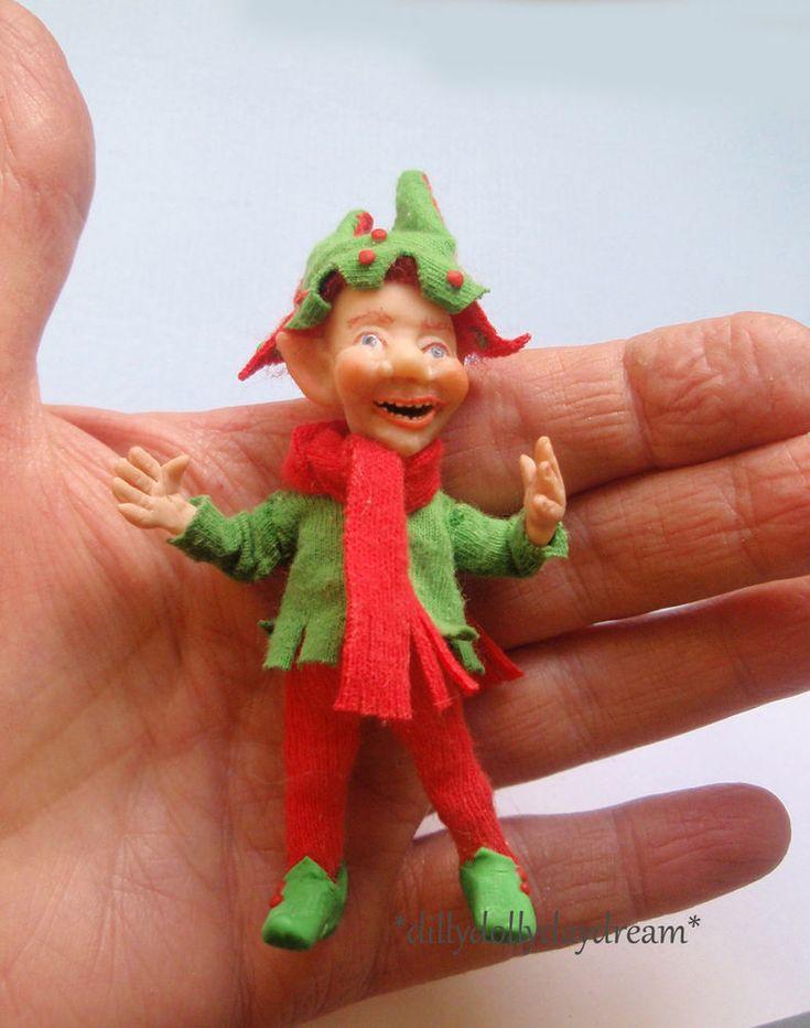 Miniature Ooak, Handmade Poseable Christmas Elf Doll by Sally Freeman  | eBay