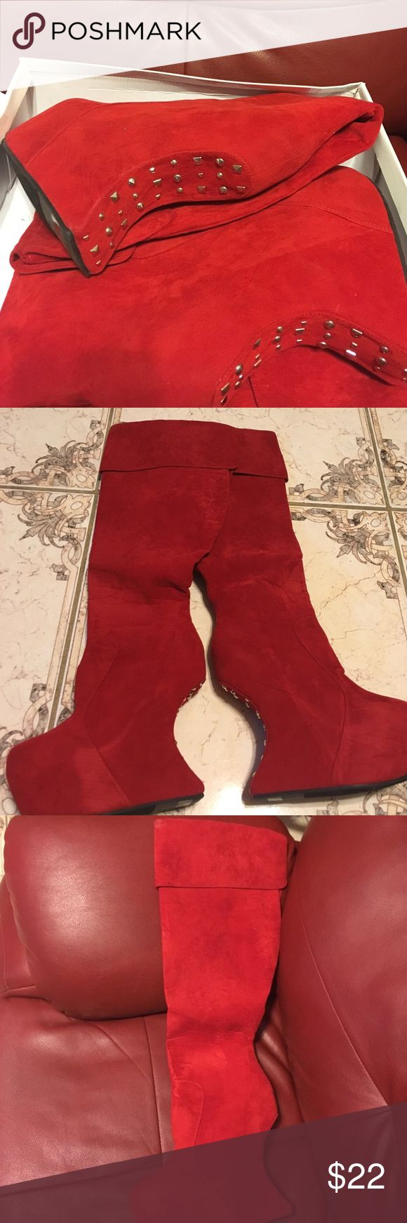 Vintage red suede knee high wedge boots. New Never worn. Size 11 women's. Pretty red suede with silver designs on the heel. Perfect for a sexy night out or photo shoot! Vintage Shoes Over the Knee Boots