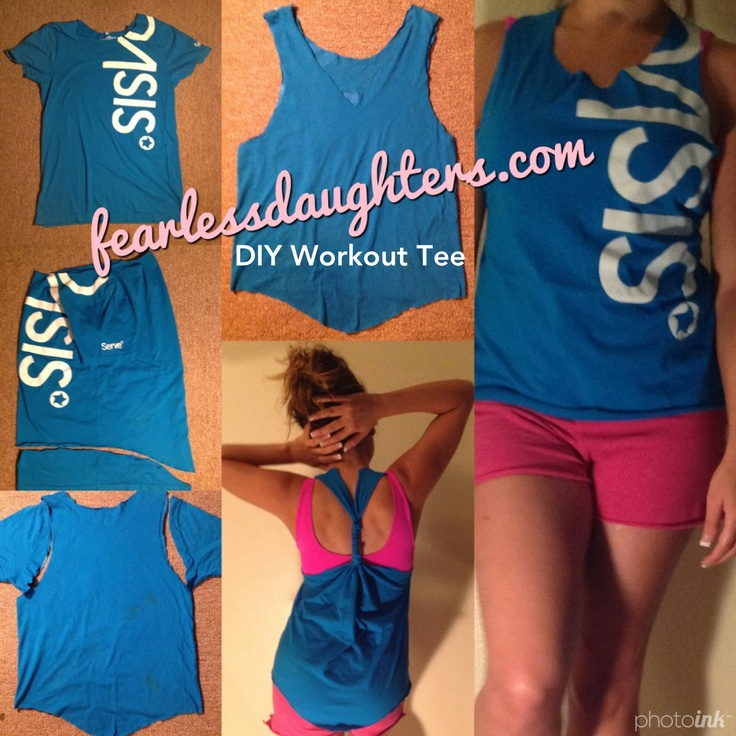 DIY WORKOUT TEE By @Melissa Fear Daughters Ministry Blogger Maggie Barnes. Cute & Easy. Recycle old shirts. T-Shirt Cutting. Follow Maggie on Pinterest at @M.barnes www.interesting12.com