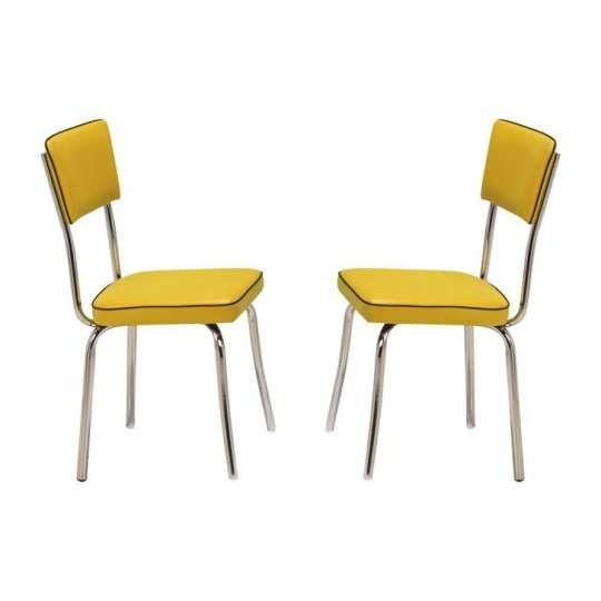 Conjunto 2 Cadeiras Retro Vinil Amarelo & Cromada Pozza