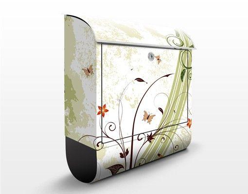 #Briefkasten mit Zeitungsfach - Frühlingszeit - Wandbriefkasten #Blumen #Postkasten #Frühling
