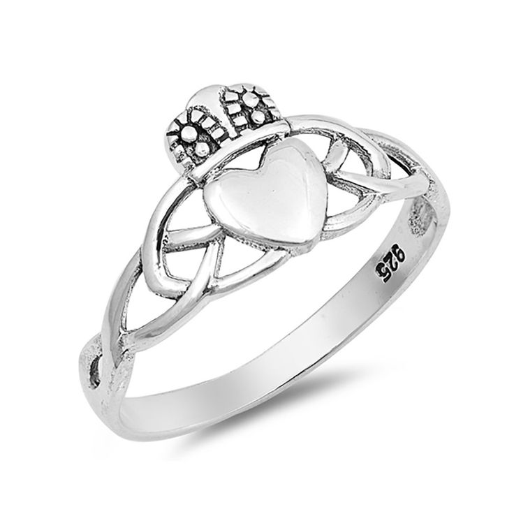 Celtic Claddagh Ring Band 925 Sterling Silver Irish Promise Ring Simple Plain
