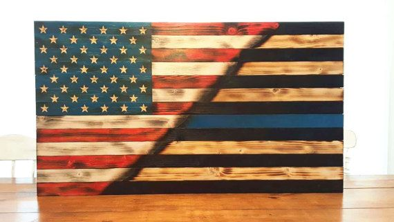 Thin Blue Line Flag Police Officer Flag Wood Flag American