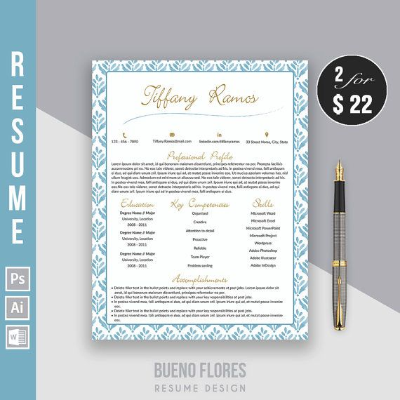 """Resume Template """"Tiffany Ramos"""" + matching cover letter and free password keeper by BuenoFloresDesign"""