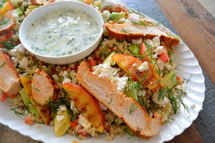 Recept: Quinoa & Couscous salade met kalkoen en gegrilde nectarine!