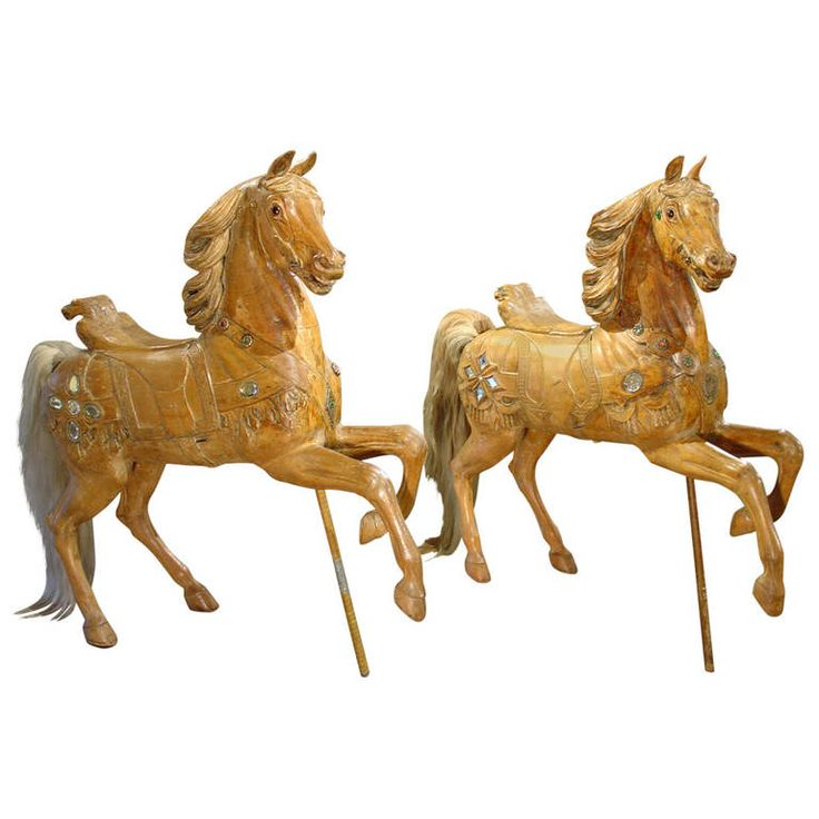 Rare Pair of 19th Century European Carousel Horse Sculptures | From a unique collection of antique and modern carnival art at https://www.1stdibs.com/furniture/folk-art/carnival-art/
