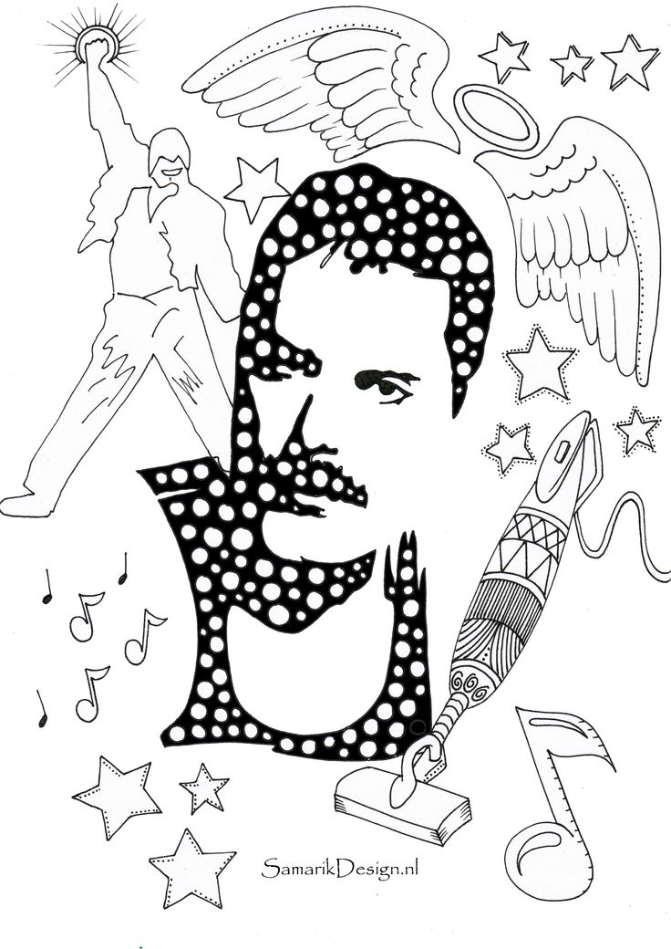 Freddie mercury famous people kleurplaten voor for Coloring pages mercury