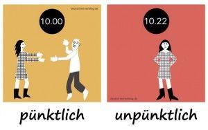 pünktlich_unpünktlich_Adjektive_Gegensatzpaare_deutschlernerblog