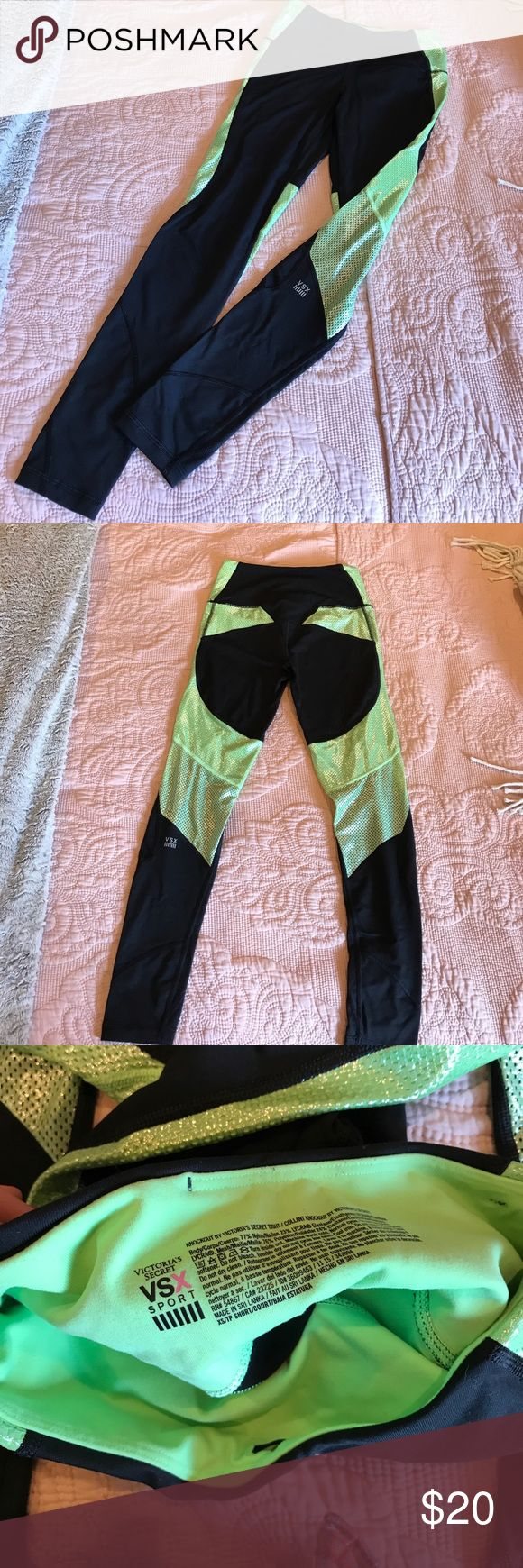 Victoria's Secret Sport workout pants Black and sheeny sparkly light green workout leggings. Definitely a mermaid vibe! I always got tons of compliments on these! Size xs and petite so a shorter fit. I'm 5'3 and they came right to my ankles. In perfect condition! Only worn twice. Victoria's Secret Pants Track Pants & Joggers
