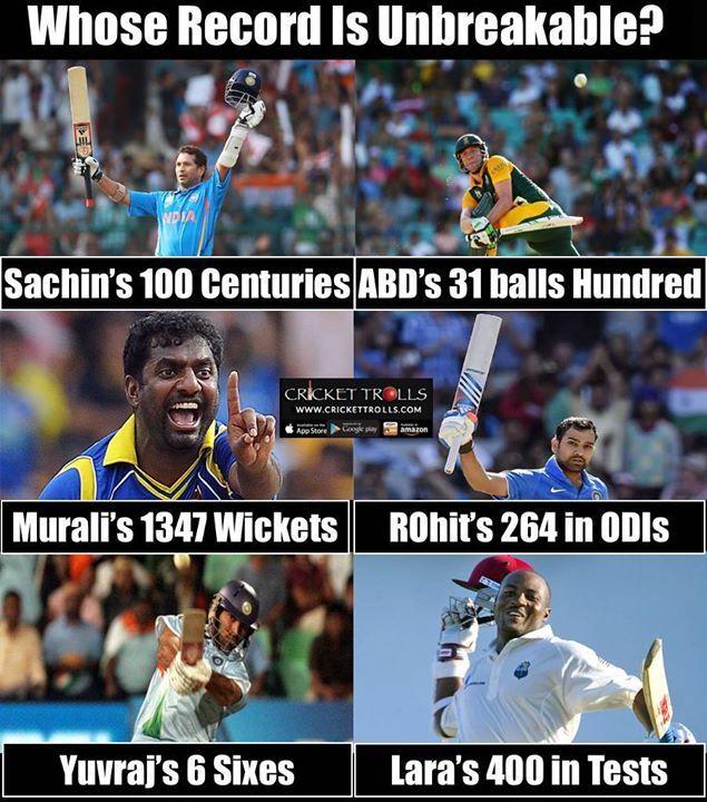 Whose record in Unbreakable? Sachin Tendulkar Rohit Sharma AB de Villiers Muttiah Muralitharan Brian Lara or Yuvraj Singh ? For more cricket fun click: http://ift.tt/2gY9BIZ - http://ift.tt/1ZZ3e4d