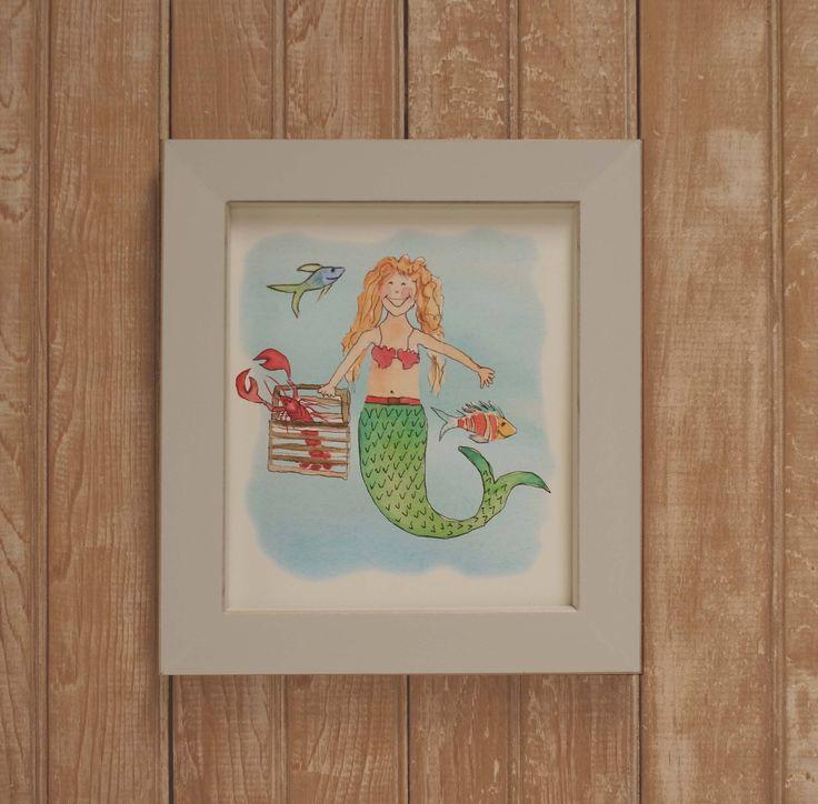 Framed mermaid nautical girl print-  framed kids coastal art-  nautical girls room print- framed girl mermaid art- childrens coastal art by ShirleyBell on Etsy