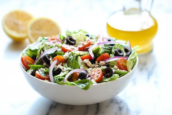 Recipe: Greek Salad with Lemon Vinaigrette..... In the list. Gotta have. I mean feta, kalamata olives... Add a good Cabernet. Yup. Yum