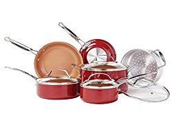 Buy this Red Copper 10 PC Copper-Infused Ceramic Non-Stick Cookware Set by BulbHead with deep discounted price online today.