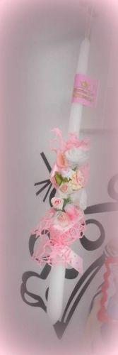 Χειροποίητη πασχαλινή λαμπάδα στολισμένη με δίχτυ και λουλούδια.  http://handmadecollectionqueens.com/Λαμπαδα-πασχαλινη-με-λουλουδα  #handmade   #fashion   #easter   #candle   #storiesforqueens   #eastergifts