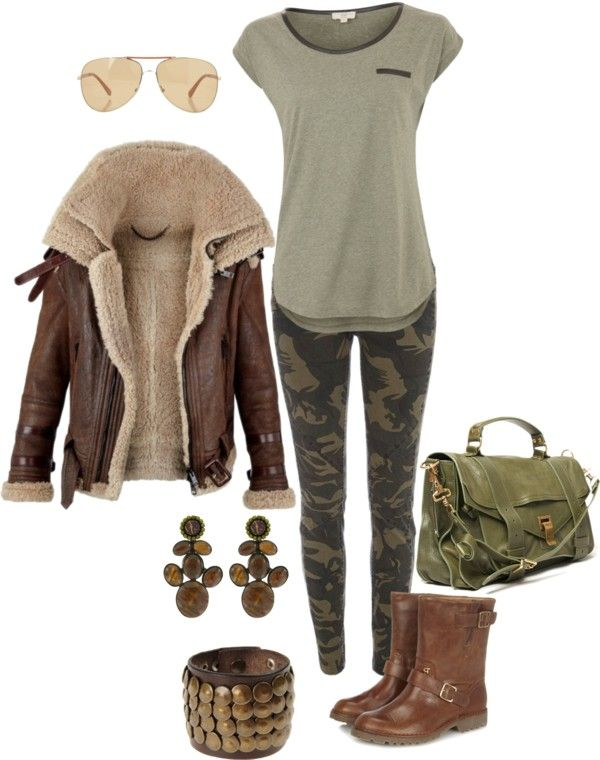 """Safari outfit"" by beauty-deluxe on Polyvore- I would totally wear this!! Maybe not the camo leggings... I might be too old for that part..."