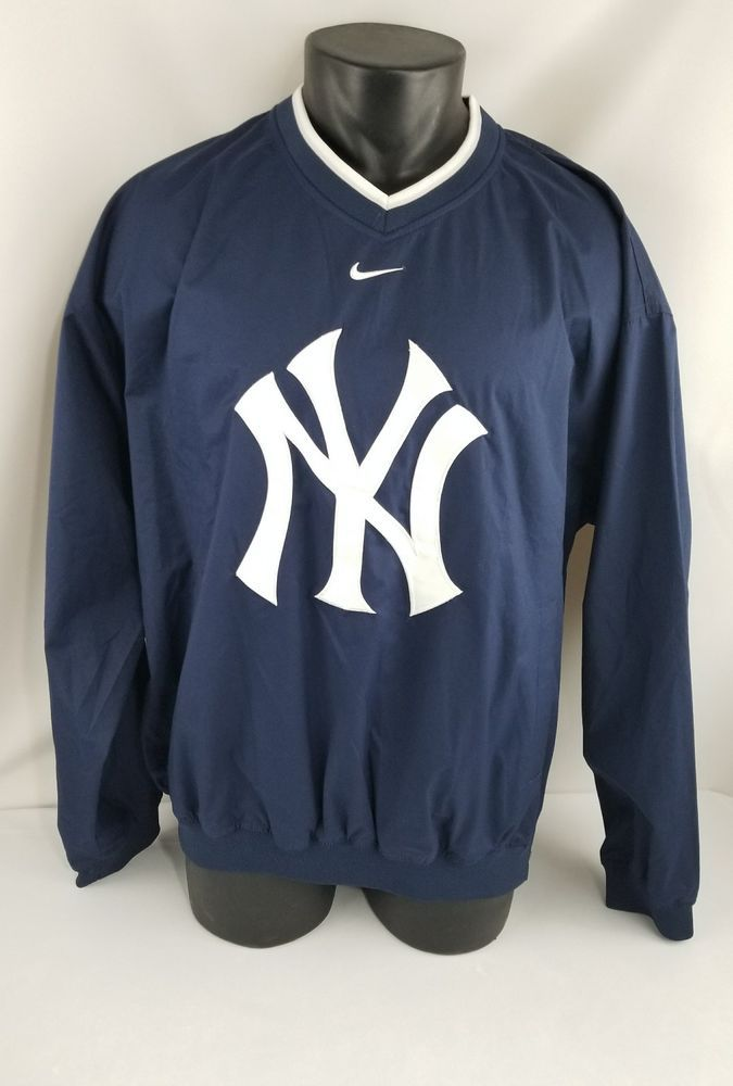 Nike Team New York Yankees MLB Baseball Pullover Windbreaker Sewn NY Adult Large #NikeTeam #NewYorkYankees