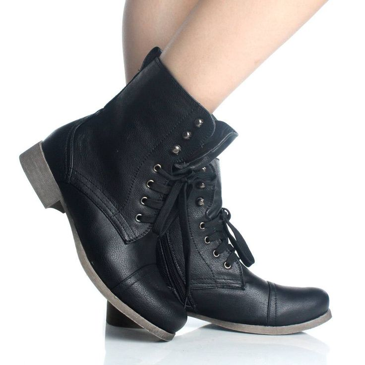 Lastest Women Combat Boots Ankle High New Fashion Cute Flower Lace Design Faux Leather | EBay
