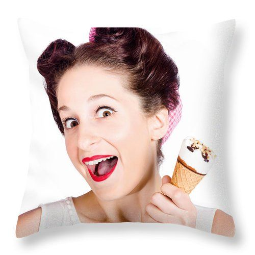 Ice Cream Throw Pillow featuring the photograph Funny Pinup Girl With Ice Cream In Isolated Studio by Jorgo Photography - Wall Art Gallery